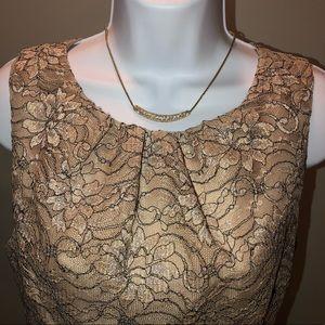 Jessica Howard Gold Lace Cocktail Dress Sz 10